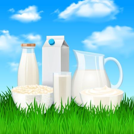 agrio: Leche y crema agria productos en la pradera de fondo ilustraci�n vectorial Vectores