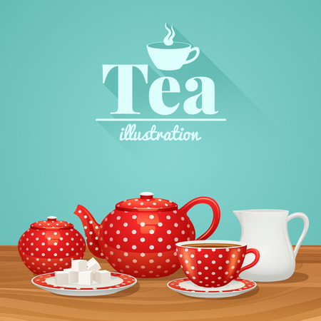 teapot: Red polka dot tea pottery set with teapot cup saucer vector illustration