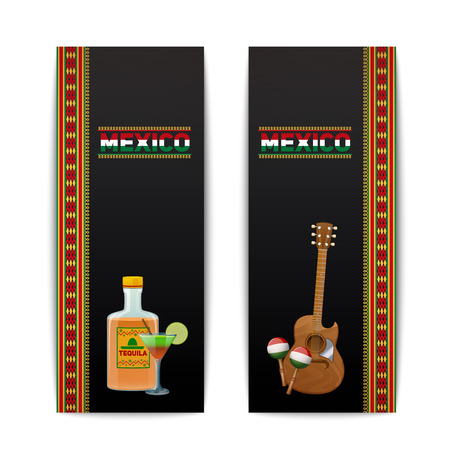 maraca: Mexican banners vertical set with tequila cocktail maraca and guitar isolated vector illustration Illustration
