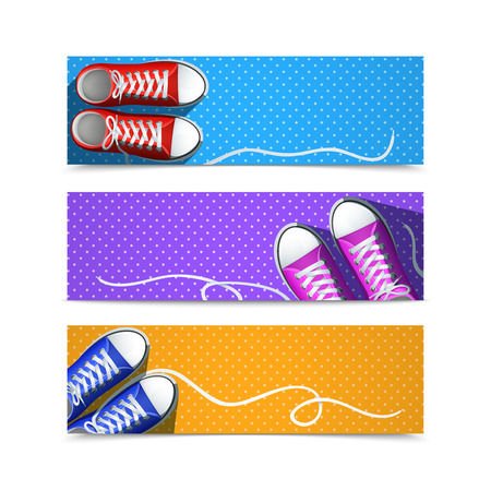 shoelace: Classic rubber gumshoes hipster accessories horizontal banner set isolated vector illustration