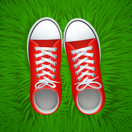 fabric design: Funky red gumshoes top view on grass background vector illustration