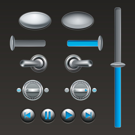 isolated: On off touch analog buttons and toggles set isolated vector illustration Illustration