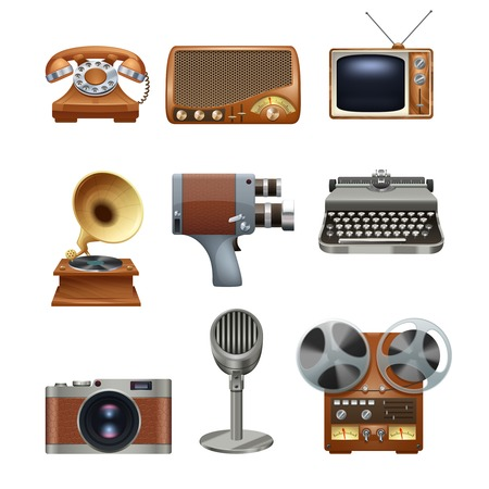 nostalgic: Retro nostalgic pictograms collection of antique mechanical typewriter and gramophone vinyl records player abstract isolated vector illustration Illustration