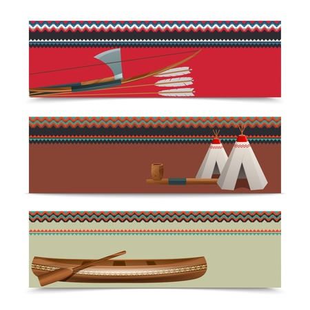 indios americanos: Indios concepto cultural banners horizontales americanas con arma hacha nativa tradicional en la frontera diseño abstracto ilustración vectorial