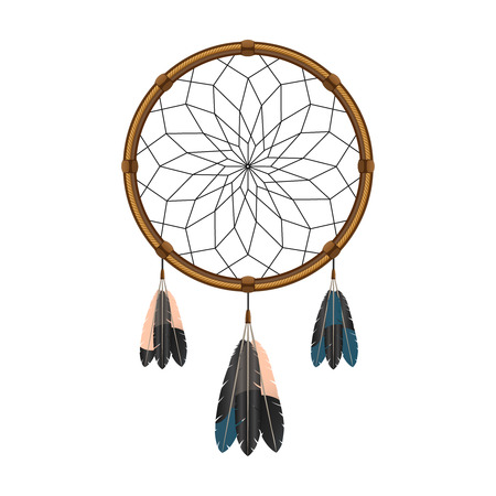 filter: Native american indian magical  dream catcher with sacred feathers to filter thoughts icon sketch abstract vector illustration Illustration