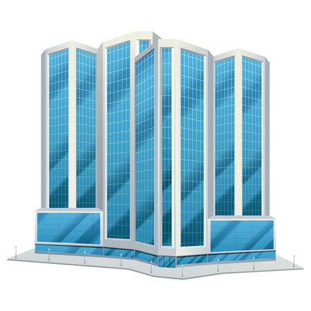 tower tall: Modern urban glass tower design city downtown office centre tall buildings day skyline abstract flat vector illustration