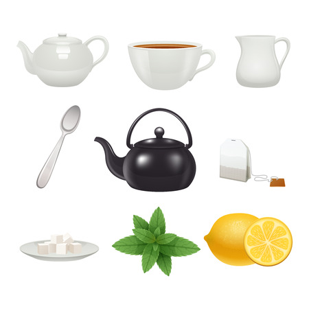 teabag: English traditional tea time porcelain cup pot icons set with mint flavor teabag realistic isolated vector illustration Illustration