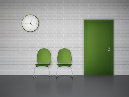 Waiting room interior with wall clock green chairs and door vector illustration Vector Illustration