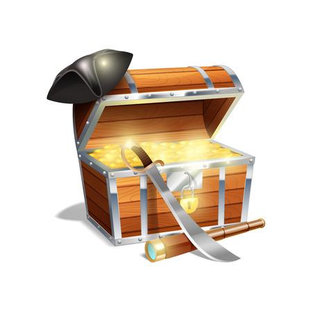 pirata: Pirata tronco cofre de madera con oro machete catalejo y el sombrero triángulo negro resumen ilustración vectorial Vectores