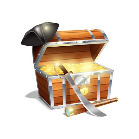 cutlass: Pirate wooden treasure chest trunk with gold spy glass cutlass and black triangle hat abstract vector illustration
