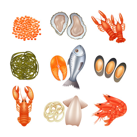 caviar: Fruits de mer ic�nes d�coratives d�finies avec caviar de poisson de homard algues isol� illustration vectorielle