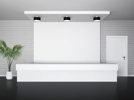 escritorio: Interior de recepción con servicio de recepción palmera y puerta blanca ilustración vectorial