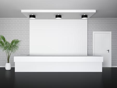 Receptie interieur met palmboom receptie en witte deur vector illustratie Vector Illustratie