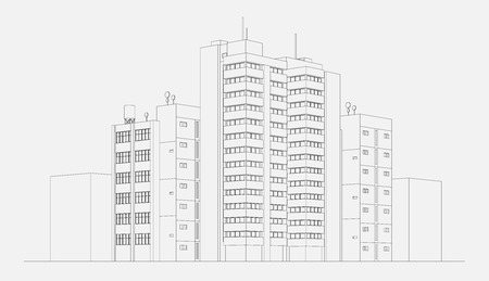 apartment block: City architecture apartment building block with tower and skyscraper linear sketch vector illustration