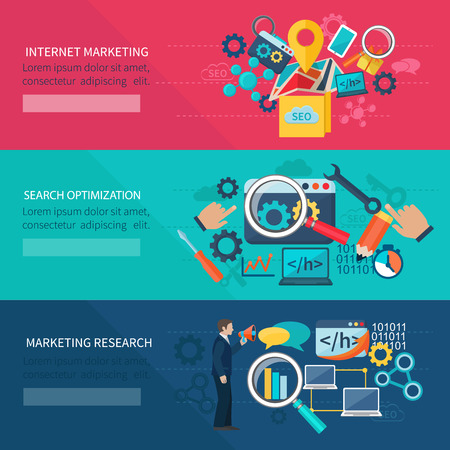 Seo marketing banner set with internet search optimization elements isolated vector illustration