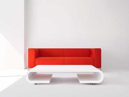 mobiliario de oficina: Realista apartamento de lujo salón interior con sofá rojo y blanco ilustración vectorial tabla Vectores