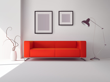 living room wall: Realistic red square sofa with lamp and picture frames interior vector illustration
