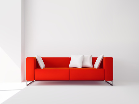 metal legs: Realistic red square sofa on the metal legs with white pillows interior vector illustration