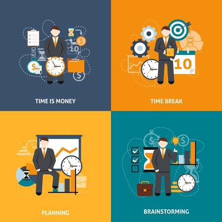 time clock: Time management design concept set with money planning and brainstorming flat icons isolated vector illustration