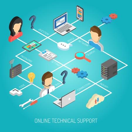 apoyo social: Concepto de apoyo de Internet con iconos de servicio al cliente isom�tricos en diagrama de flujo ilustraci�n vectorial Vectores