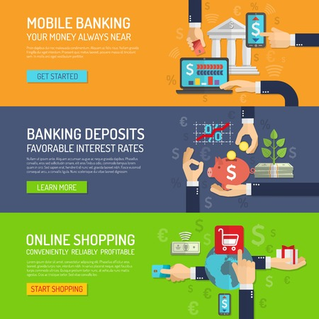 online trading: Banking banner horizontal set with mobile deposit and online shopping elements isolated vector illustration