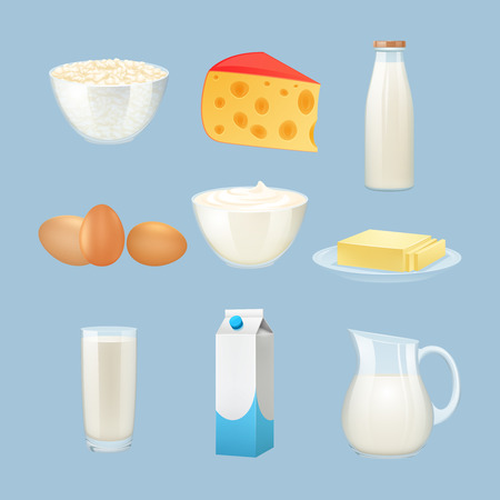 cream cheese: Milk products set with eggs cheese and cream isolated vector illustration