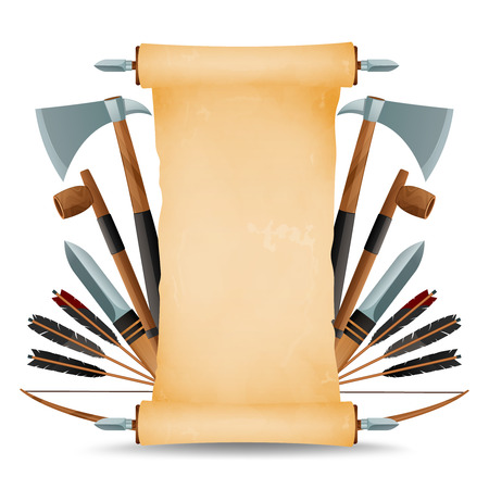 americal: Symbolic ancient native americal indian tribe blank parchment scroll on holder decorated with weapon abstract vector illustration