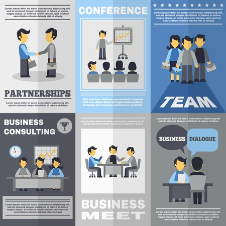 consulting: Business meeting partnership team and consulting poster set isolated vector illustration