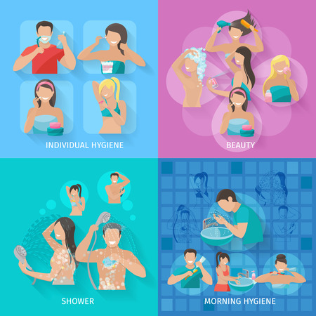 face wash: Hygiene design concept set with beauty and shower flat icons isolated vector illustration