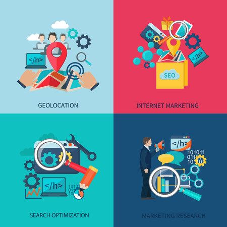 Seo marketing design concept set with geolocation search optimization flat icons isolated vector illustration