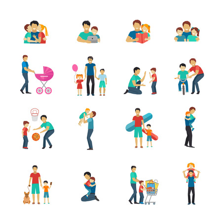 father: Fatherhood flat icons set with father playing with children isolated vector illustration