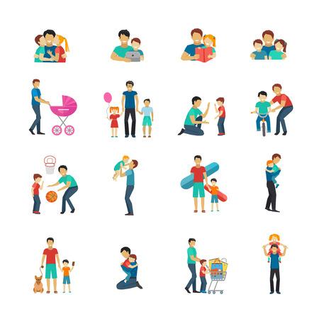 Vaderschap vlakke pictogrammen set met vader spelen met kinderen geïsoleerd vector illustratie