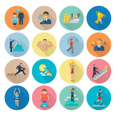 motivation icon: Motivation icon flat set with target achievement winner symbols isolated vector illustration