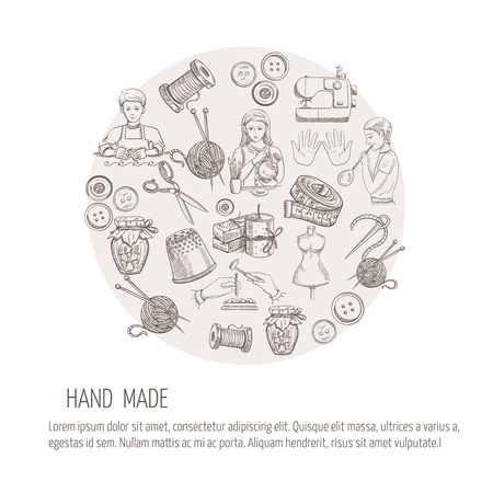 Hand made concept with sketch tailoring metal glass work icons vector illustration Vector
