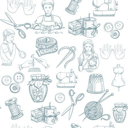 drawn metal: Handmade tailoring metal painting workshop hand drawn seamless pattern vector illustration