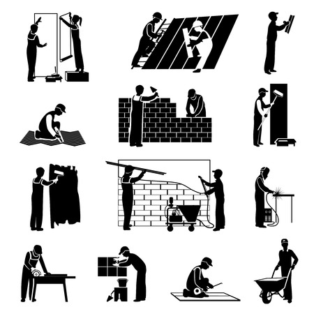 constructions: Professional construction workers builders and laborers black icons set isolated vector illustration