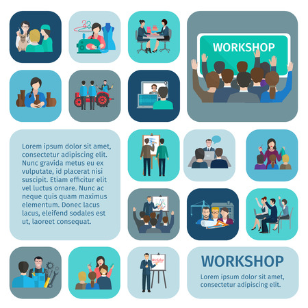workshop seminar: Workshop flat icons set with businessmen and workers teamwork symbols isolated vector illustration