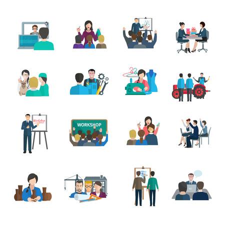 Iconos planos del taller establecen con aislados líder empresarial organización presentación del trabajo en equipo ilustración vectorial
