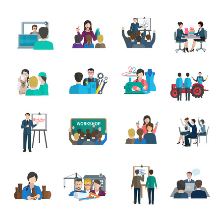 organization development: Workshop flat icons set with business leader presentation teamwork organization isolated vector illustration