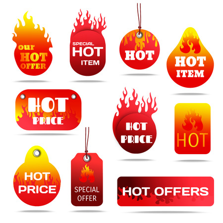 hot sale: Hot sale and special offers with fire design labels set flat shadow isolated vector illustration