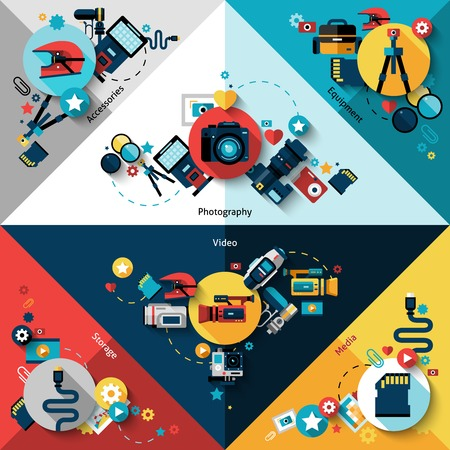 media equipment: Camera corners set with photo video media equipment and storage isolated vector illustration Illustration