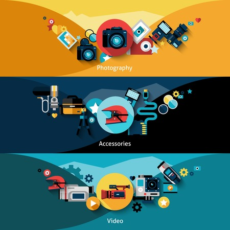 formats: Camera horizontal banners set with video and photography accessories isolated vector illustration