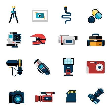 illustration technique: Photo and video camera technique icons set isolated vector illustration