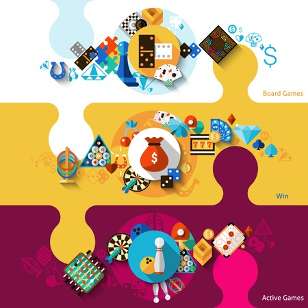 Games horizontal banner set with active board win games elements isolated vector illustration