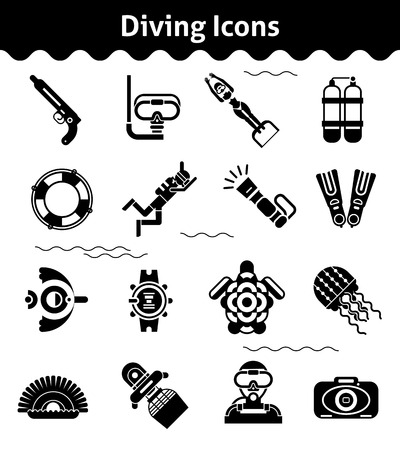 flipper: Diving icons black set with diver underwater gun flipper isolated vector illustration