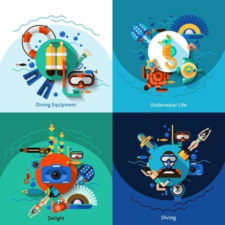 vida social: Buceo concepto de diseño conjunto con iconos planos de la vida bajo el agua ilustración vectorial aislado Vectores