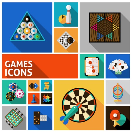table tennis: Table and gambling games decorative icons set isolated vector illustration