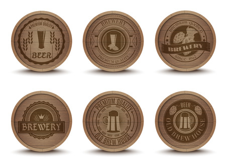 beer label design: Wooden beer house emblems retro style beverage drip mats coasters  icons collection print abstract isolated vector illustration