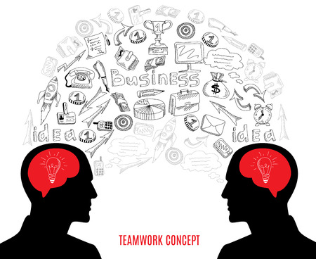 managing: Successful business partners teamwork cooperation strategy concept black outlined icons composition with  brainstorm symbol abstract vector illustration Illustration