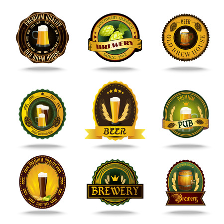 Brewery: Vintage style brewery cellar bar traditional lager brand beer emblems labels set color abstract isolated vector illustration Illustration